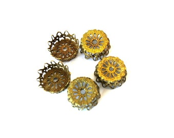 6 VINTAGE flower cap beads, metal lace design 14mmx6mm height