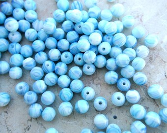 30 Vintage  glass beads white with blue 6mm