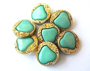 6 Antique vintage buttons, gold color plastic buttons with green trim 25mm