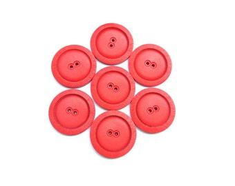 22 Antique vintage buttons, plastic buttons, red, 27mm