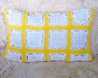 Vintage afghan granny square throw pillow cover 16x20 white yellow knit home decor blanket