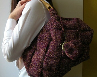 SALE - Knit Purse in Marled Purple Wool - Winter Tote