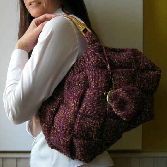 SALE - Knit Purse in Marled Purple Wool - Winter Tote