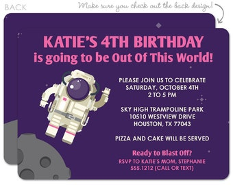 Girl Space Invitation, Astronaut party, bounce party, trampoline party  -  Party Invitation