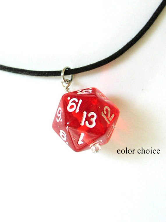 Geekery D20 Dice Necklace COLOR CHOICE pendant unisex guys mens gifts jewelry recycled game stocking stuffer gamer dnd party favors bachelor