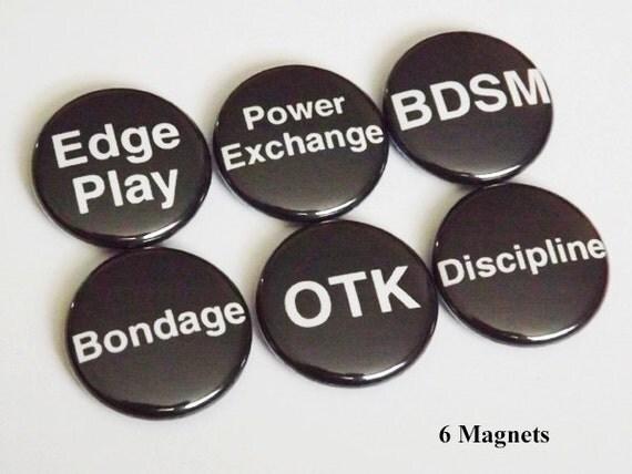 BDSM terms fridge MAGNETS edge play bondage otk power goth discipline scene novelty stocking stuffer gifts party favors kinky fetish pins