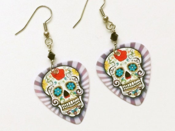 Wild Sugar Skull Earrings day of the dead dia de los muertos party favors stocking stuffers halloween calavera wedding shower costume gifts