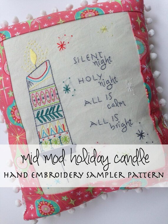Hand embroidery pattern christmas midmod