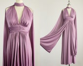 70s Vintage Lavender Draped Grecian Goddess Butterfly Wings Maxi Dress / Size Small