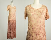 20% Off With Coupon Code! 90s Vintage Sheer Mesh Lace Embroidered Sienna Ombre Maxi Dress / Size Small