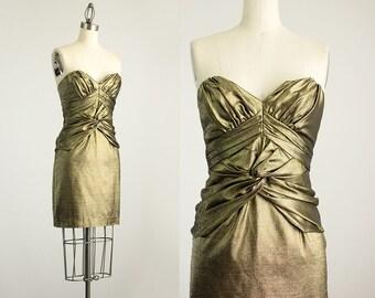 90s Vintage Gold Metallic Strapless Twist Mini Dress / Size Extra Small