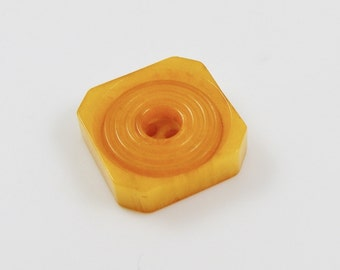 Vintage Butterscotch Square Carved Marble Bakelite Button