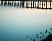 "Teal blue wall art | pier photograph | ocean print | minimal art | aqua decor | 8x10 16x20 print ""Dusk at the Bay"""