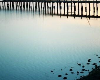 "Beach ocean photography print, teal blue wall art pier photograph minimal art ""Dusk at the Bay"""