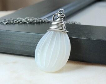 Agate Necklace Oxidized Silver   Carved Pendant  Gemstone    Jewelry Grey Necklace Drop Beige Teardrop Pendant Casual Jewelry Gem