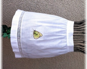 BUTTERFLY on WHITE COTTON  - Half Apron
