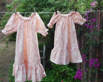 Prairie Nightgown Toddler 4T - 5T Vintage Roses Ruffles No Lace Ready Now