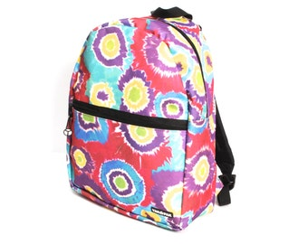 TIE DYE nylon canvas 80s 90s BACKPACK knapsack hiking unisex rucksack