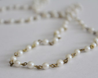 Vintage beaded chain brass with faux pearls 5mm (1 foot)