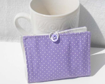 Tea Wallet, Fabric Wallet, Business Card Holder - Purple and White Polka Dots Wallet