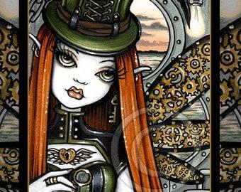 SALE Steampunk Aviatrix Industrial Fairy Dusty Embellished Ltd Canvas Print 8x10 inch