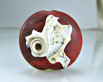 Etched Red Silvered Ivory Lampwork Focal Bead