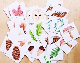 Memory Game Set . Cards Set . Illustrated Cards