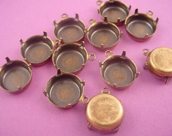 10 antique brass ox Round Prong Settings 12mm 1 Ring Closed Backs Shallow Settings for Cabochons and Flatbacks -