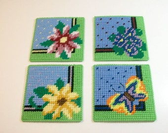 Blossoms and Butterfly Beverage Coasters - Flowery Drink Coasters - Flower Garden Mug Rugs - Springtime Blooms - Ready-to-Ship
