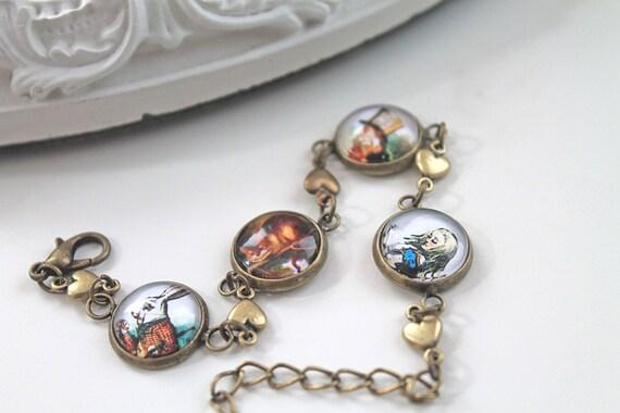 Alice in Wonderland bracelet White Rabbit Cheshire Cat Mad Hatter Tenniel Lewis Carroll