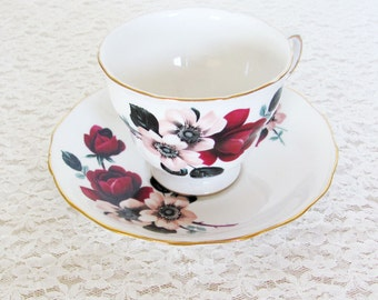 english bone china tea cup and saucer, queen anne tea  cup and saucer,  roses and dogwood floral china, dark red and pale pink floral china