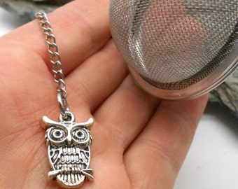 Tea Ball Infuser with Owl Charm - Tea Ball, Tea Strainer, Tea Infuser, Loose Leaf Tea, Tea Brewing, Owl, Halloween