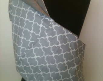 Baby Sling  Baby Carrier - Gray and White Lattice Gray  Lining   Second Item Ships Free