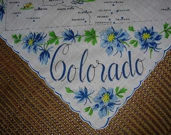 Vintage State Hanky - Colorado - Hankie Handkerchief
