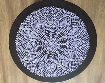 Purple Pineapple Doily 15 Inch Lavender Crochet Dresser Scarf Table Topper Centerpiece