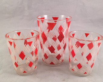 Set of 3 Vintage SWANKY SWIG 1950's Era Juice and Shot Glasses with Red and White Diamond Pattern