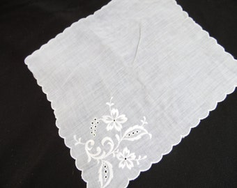 Vintage White on White Floral Embroidery Ladies' Hankie/Handkerchief