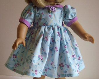 50's American Girl Doll Dress-Blue and Orchid