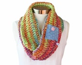 SALE 50 Percent off! Crochet Circle Infinity Cowl Scarf Colorful with Shabby Jean Pocket