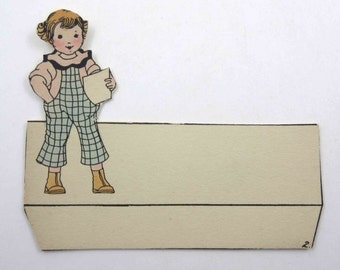 Vintage Unused Die Cut Art Deco Place Card with Cute Little Boy in Plaid Outfit