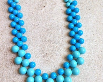 Ombre blue baby Candyland long gradual color sized beads sweets girly girl doll easter spring summer necklace set acrylic