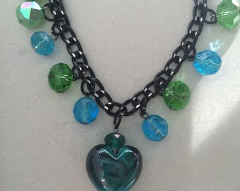Heart lamp Glass faceted crystal beads teal blue stone black onyx chains high shine glamour luster charm bracelet linked toggle closure