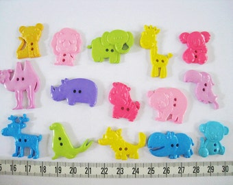 30 pcs of Novelty Button - Sweet Tone Animal Safari - Lion Elephant Hippo Rhino Giraffe Monkey Fox  Seal Koala  Parrot Bear