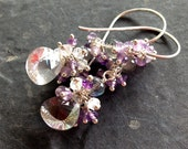 Amethyst, labradorite, moonstone, and crystal quartz earrings in sterling silver RESERVED for Ms. A.