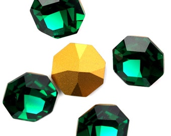 Vintage Swarovski Octagon Pointed Back Stone 18mm Emerald (1) VGC454