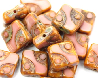 Czech Glass Beads Square Dots Coral Pink Picasso 10mm (10) CZP910