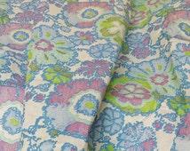 Vintage 1950's Organdie Fabric Thin Stiff Cotton Fabric Vintage Dress Fabric Vintage 1960's Organdy Fabric Purple Green Blue Floral Fabric