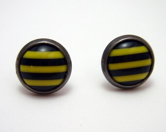 Black and yellow striped post earrings SMALL - Bumblebee Stripes