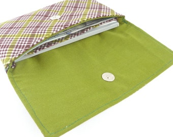 green plaid coupon holder case. cotton cash wallet. women teen ladies fabric checkbook cover envelope wallet