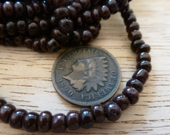 24 Vintage Brown 5-6mm Glass Beads C36